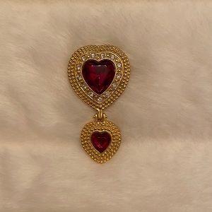 Artifacts double heart pin